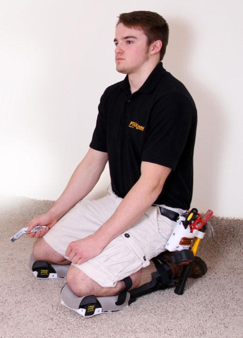 Showing man using ProKnee kneepad