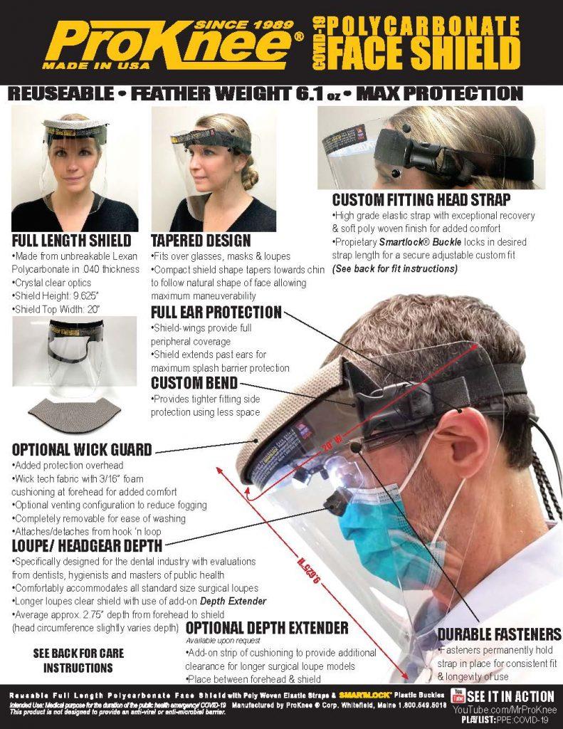ProKnee Polycarbonate Face Shield Info